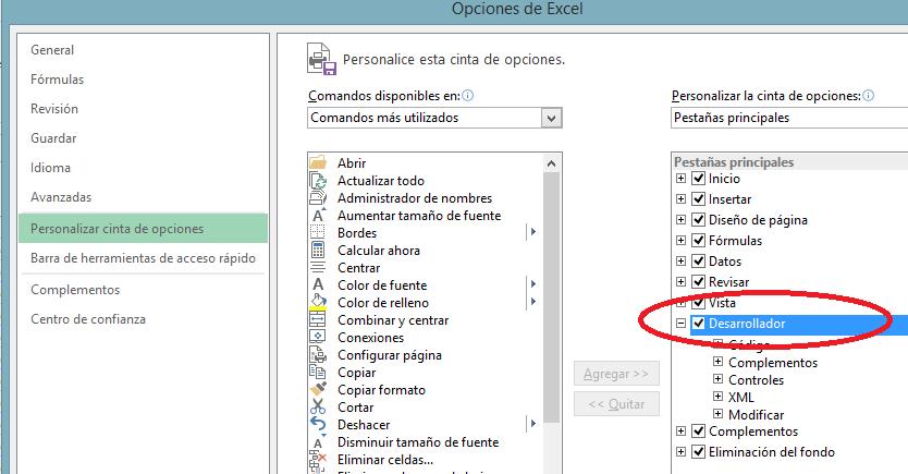 Ajouter onglet développeur Excel