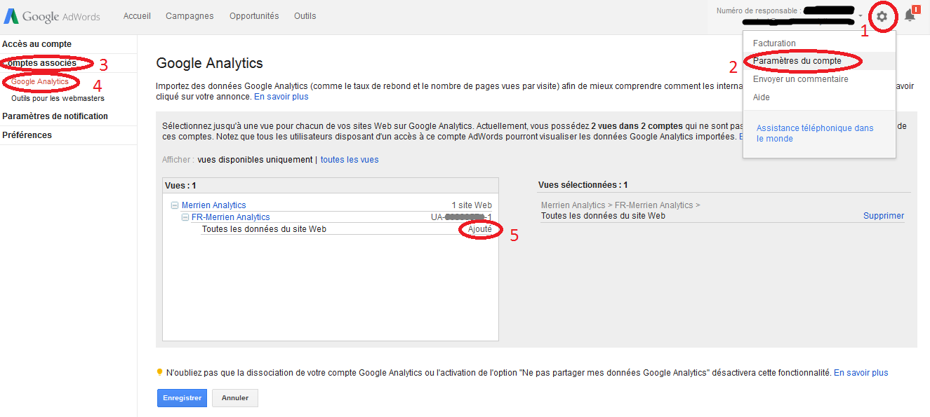 associer comptes Adwords et Analytics dans Adwords