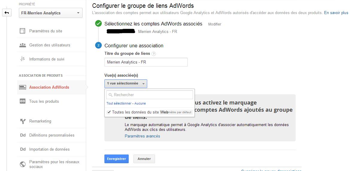 associer comptes Adwords et Analytics dans Analytics
