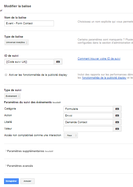 créer event google analytics via google tag manager